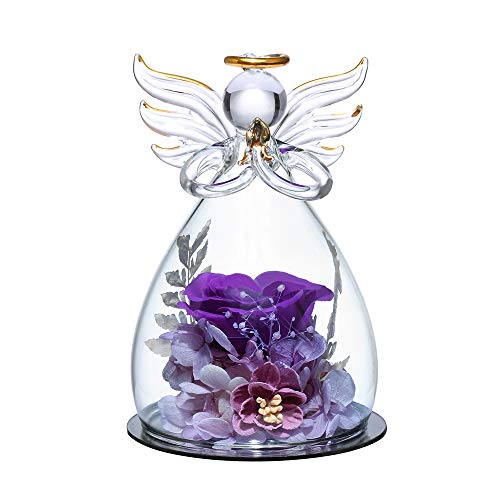 ANLUNOB Flower Birthday Gifts for Women, Angels with Pretty Purple Roses for Wedding