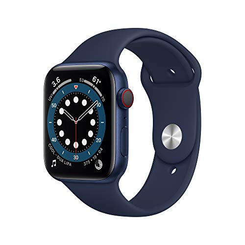 New AppleWatch Series 6 (GPS + Cellular, 44mm) - Blue Aluminum Case with Deep Navy Sport Band