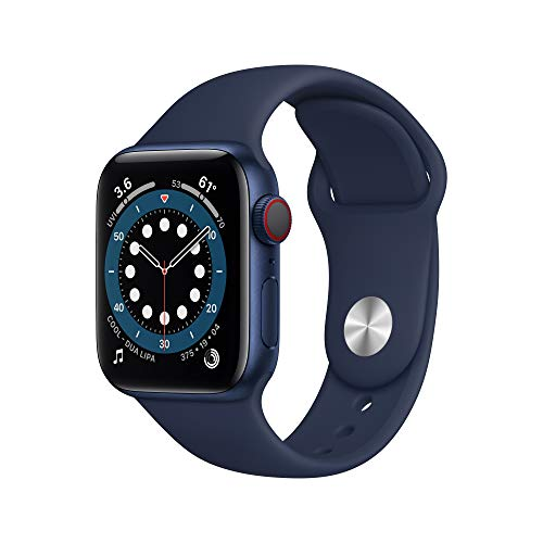 AppleWatch Series 6 (GPS + Cellular, 40mm) - Blue Aluminum Case with Deep Navy Sport Band