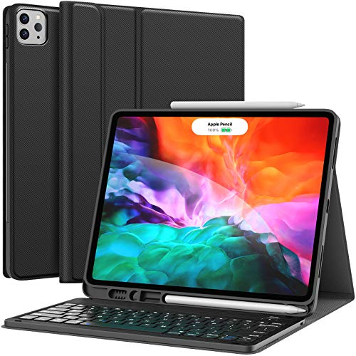 iPad Pro 12.9 inch 2021 Case with Keyboard, Keyboard (for 12.9-inch iPad Pro - 5th Generation, 4th/3rd Generation) - Wireless Detachable - with Pencil Holder for 2021 iPad Pro 12.9, Black